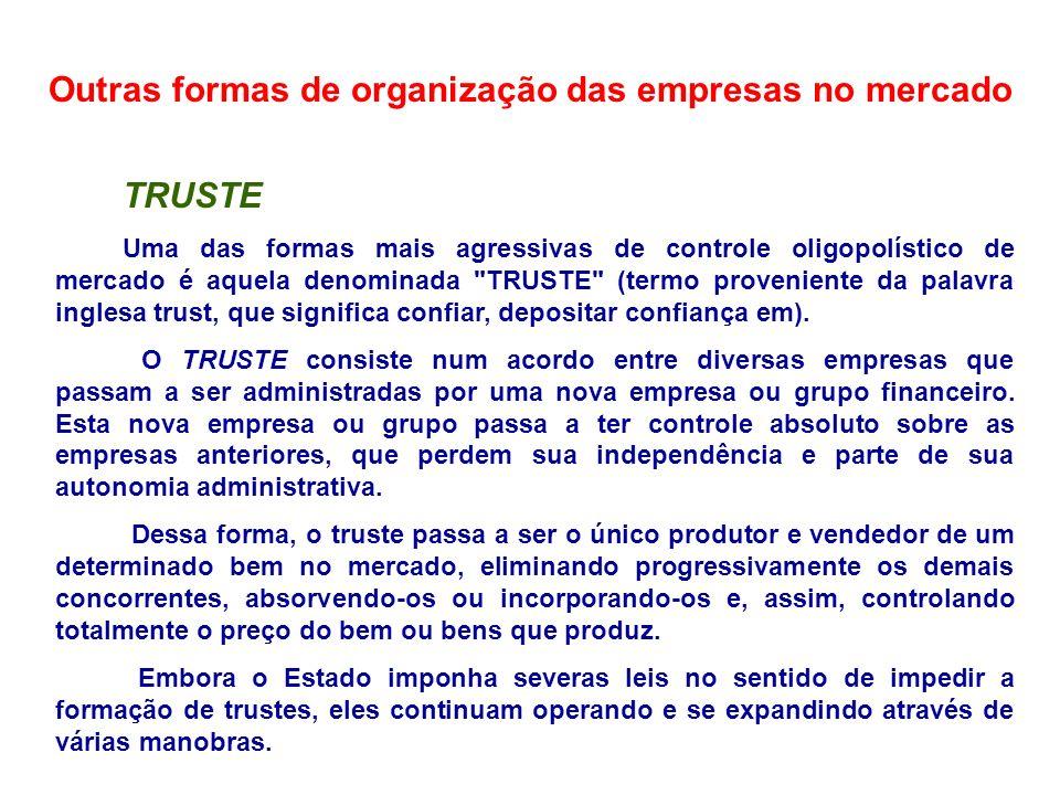 Outras formas de organização das empresas no mercado TRUSTE Uma das formas mais agressivas de controle oligopolístico de mercado é aquela denominada