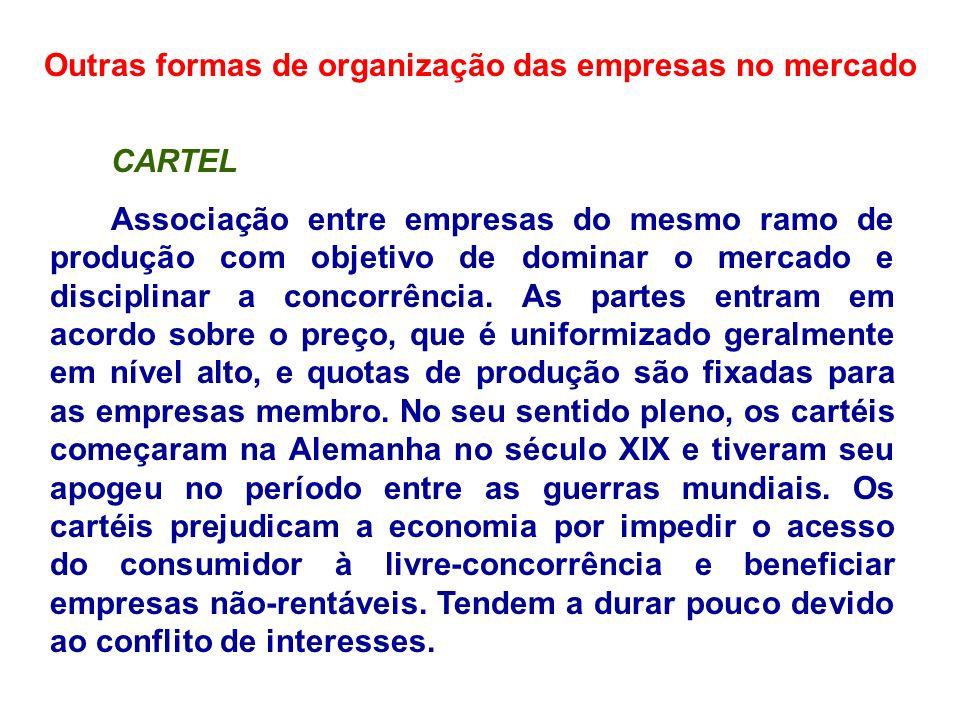 Outras formas de organização das empresas no mercado CARTEL Associação entre empresas do mesmo ramo de produção com objetivo de dominar o mercado e di