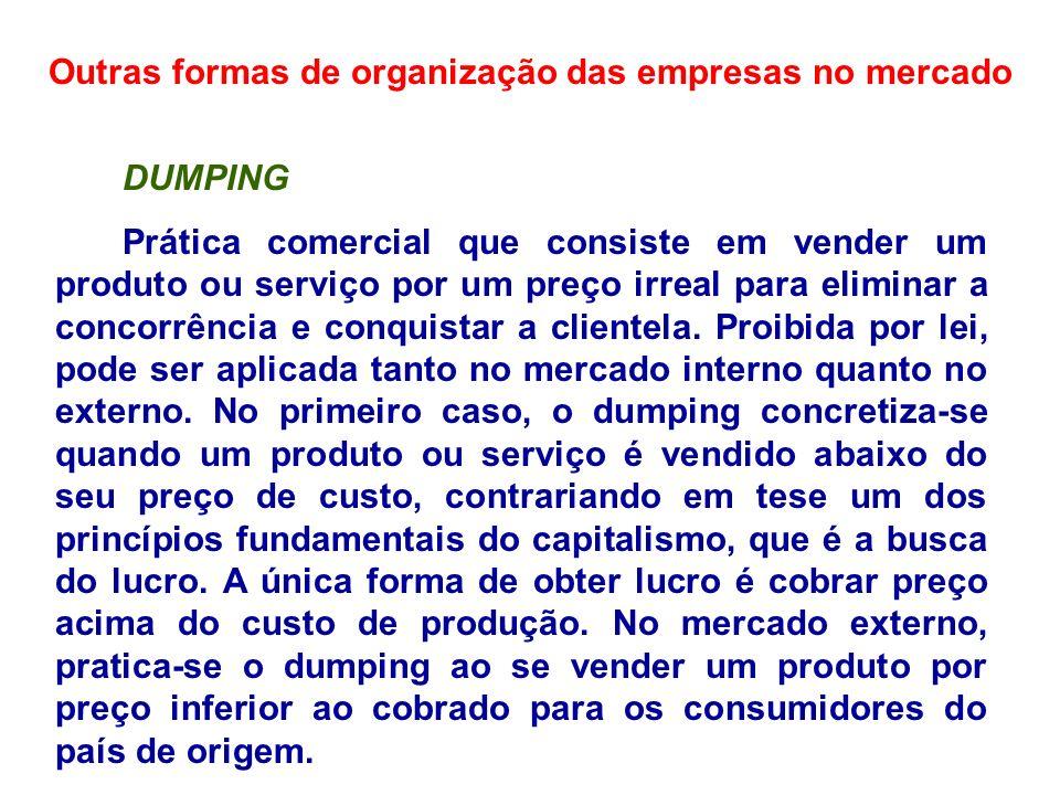 Outras formas de organização das empresas no mercado DUMPING Prática comercial que consiste em vender um produto ou serviço por um preço irreal para e