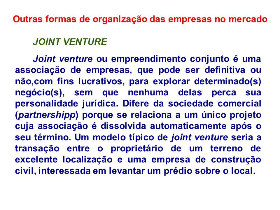 Outras formas de organização das empresas no mercado JOINT VENTURE Joint venture ou empreendimento conjunto é uma associação de empresas, que pode ser