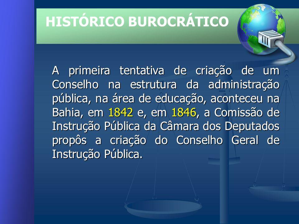 A primeira tentativa de criação de um Conselho na estrutura da administração pública, na área de educação, aconteceu na Bahia, em 1842 e, em 1846, a Comissão de Instrução Pública da Câmara dos Deputados propôs a criação do Conselho Geral de Instrução Pública.