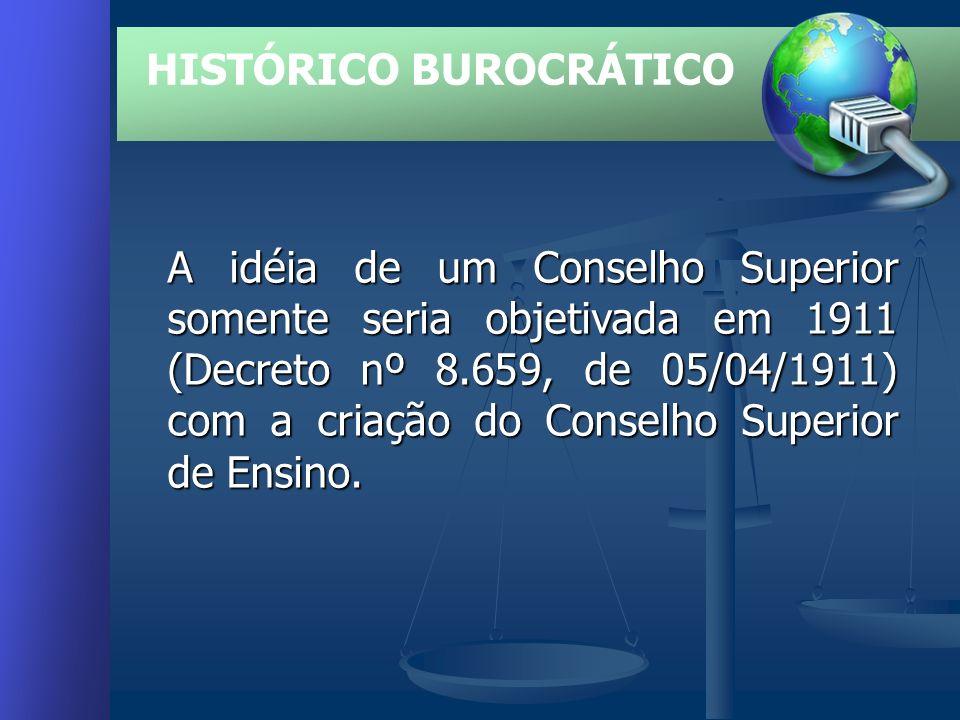 HISTÓRICO BUROCRÁTICO A idéia de um Conselho Superior somente seria objetivada em 1911 (Decreto nº 8.659, de 05/04/1911) com a criação do Conselho Superior de Ensino.