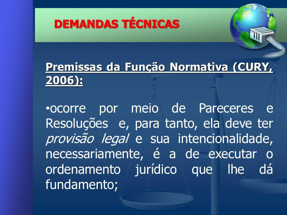 Premissas da Função Normativa (CURY, 2006): ocorre por meio de Pareceres e Resoluções e, para tanto, ela deve ter provisão legal e sua intencionalidade, necessariamente, é a de executar o ordenamento jurídico que lhe dá fundamento;