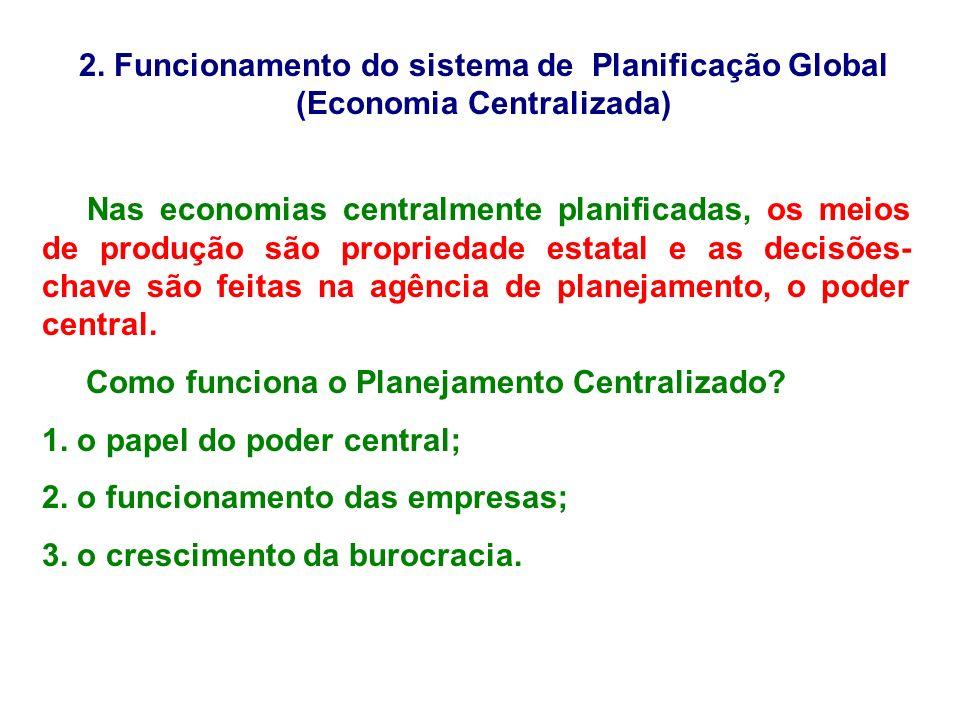 2. Funcionamento do sistema de Planificação Global (Economia Centralizada) Nas economias centralmente planificadas, os meios de produção são proprieda