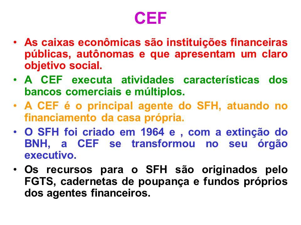CEF As caixas econômicas são instituições financeiras públicas, autônomas e que apresentam um claro objetivo social. A CEF executa atividades caracter