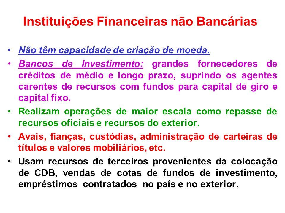 Instituições Financeiras não Bancárias Não têm capacidade de criação de moeda. Bancos de Investimento: grandes fornecedores de créditos de médio e lon