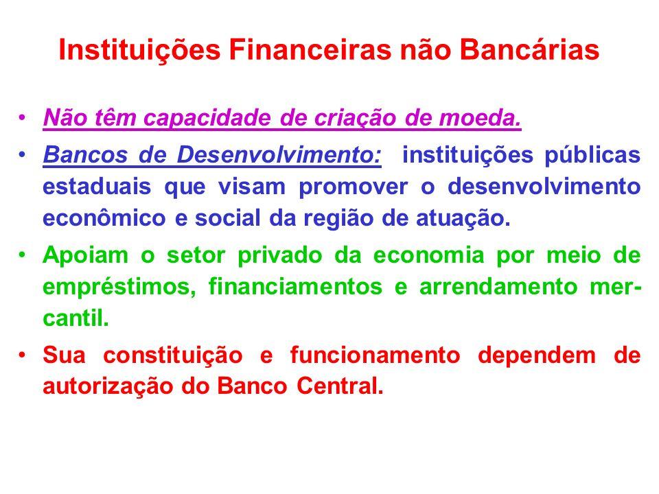Instituições Financeiras não Bancárias Não têm capacidade de criação de moeda. Bancos de Desenvolvimento: instituições públicas estaduais que visam pr