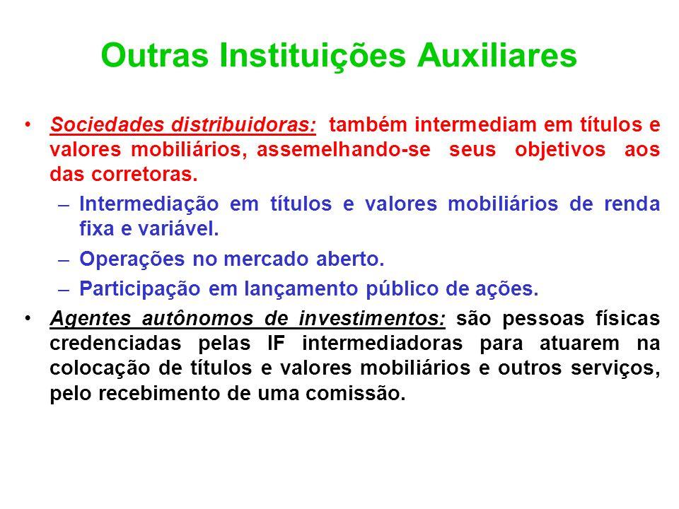 Outras Instituições Auxiliares Sociedades distribuidoras: também intermediam em títulos e valores mobiliários, assemelhando-se seus objetivos aos das