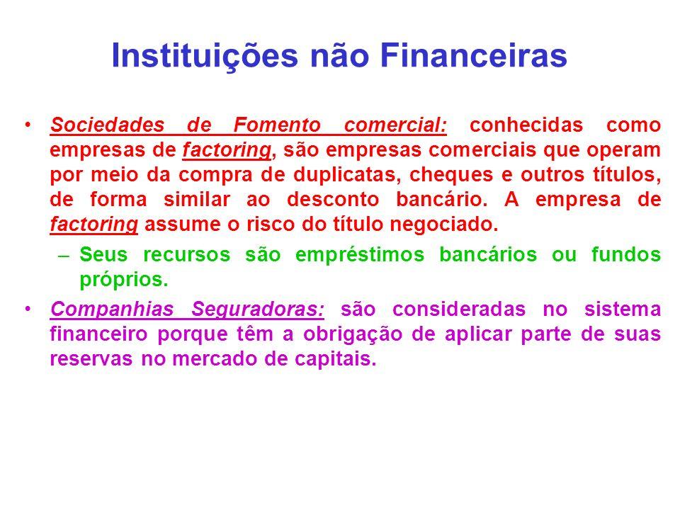 Instituições não Financeiras Sociedades de Fomento comercial: conhecidas como empresas de factoring, são empresas comerciais que operam por meio da co