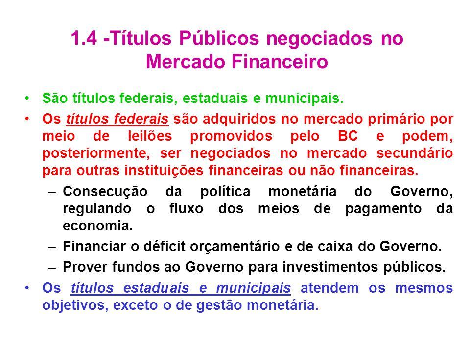 1.4 -Títulos Públicos negociados no Mercado Financeiro São títulos federais, estaduais e municipais. Os títulos federais são adquiridos no mercado pri