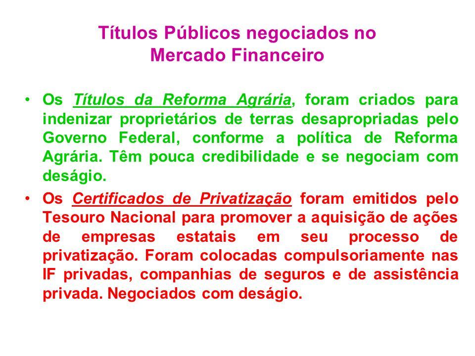 Títulos Públicos negociados no Mercado Financeiro Os Títulos da Reforma Agrária, foram criados para indenizar proprietários de terras desapropriadas p