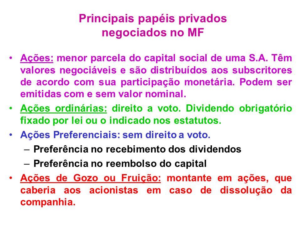 Ações: menor parcela do capital social de uma S.A. Têm valores negociáveis e são distribuídos aos subscritores de acordo com sua participação monetári