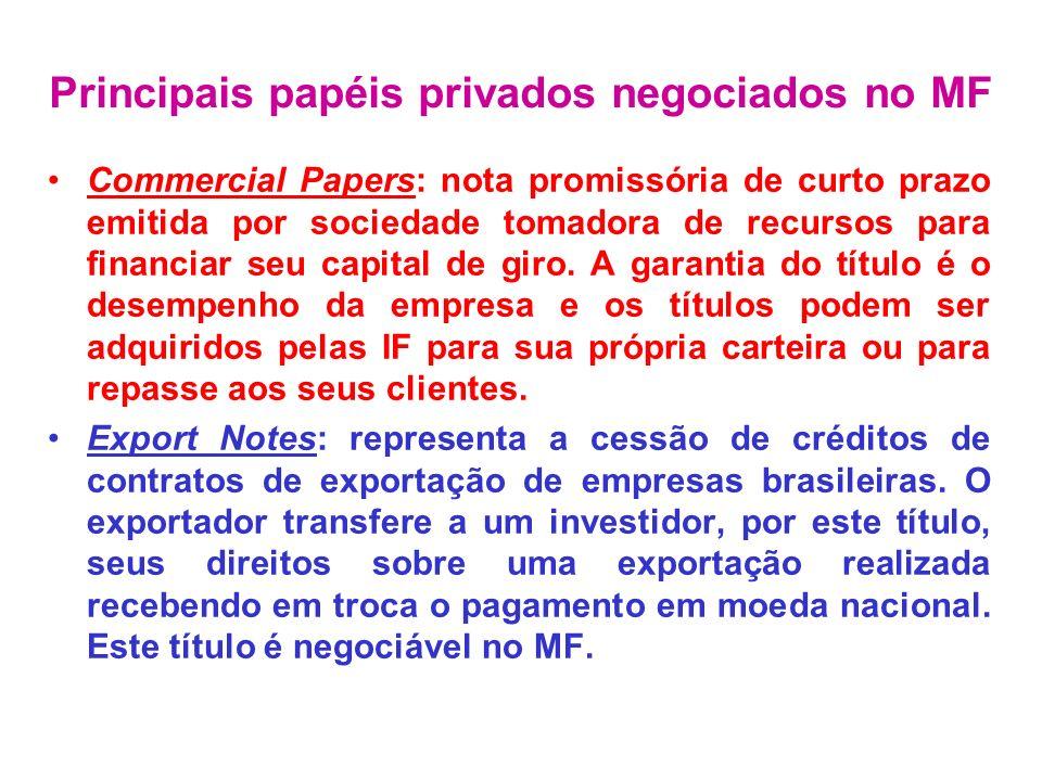 Commercial Papers: nota promissória de curto prazo emitida por sociedade tomadora de recursos para financiar seu capital de giro. A garantia do título