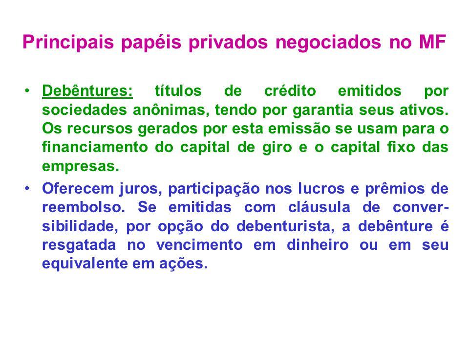 Debêntures: títulos de crédito emitidos por sociedades anônimas, tendo por garantia seus ativos. Os recursos gerados por esta emissão se usam para o f