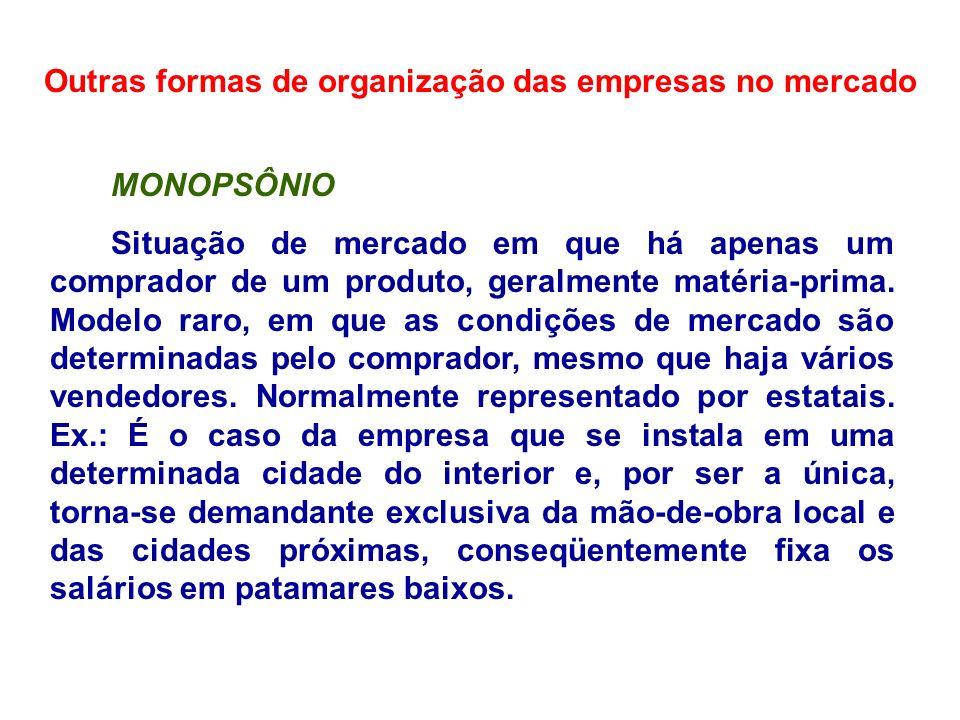Outras formas de organização das empresas no mercado OLIGOPSÔNIO Tipo de estrutura de mercado em que poucas empresas, de grande porte, são compradoras de determinados produtos, geralmente matéria-prima ou produtos primários.