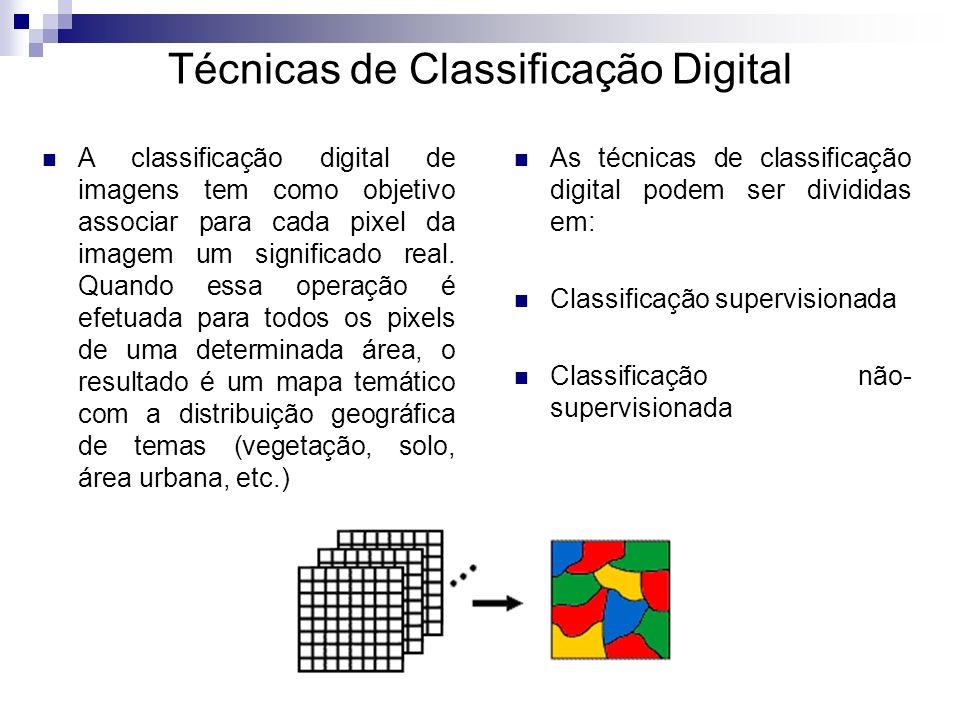 Técnicas de Classificação Digital A classificação digital de imagens tem como objetivo associar para cada pixel da imagem um significado real. Quando