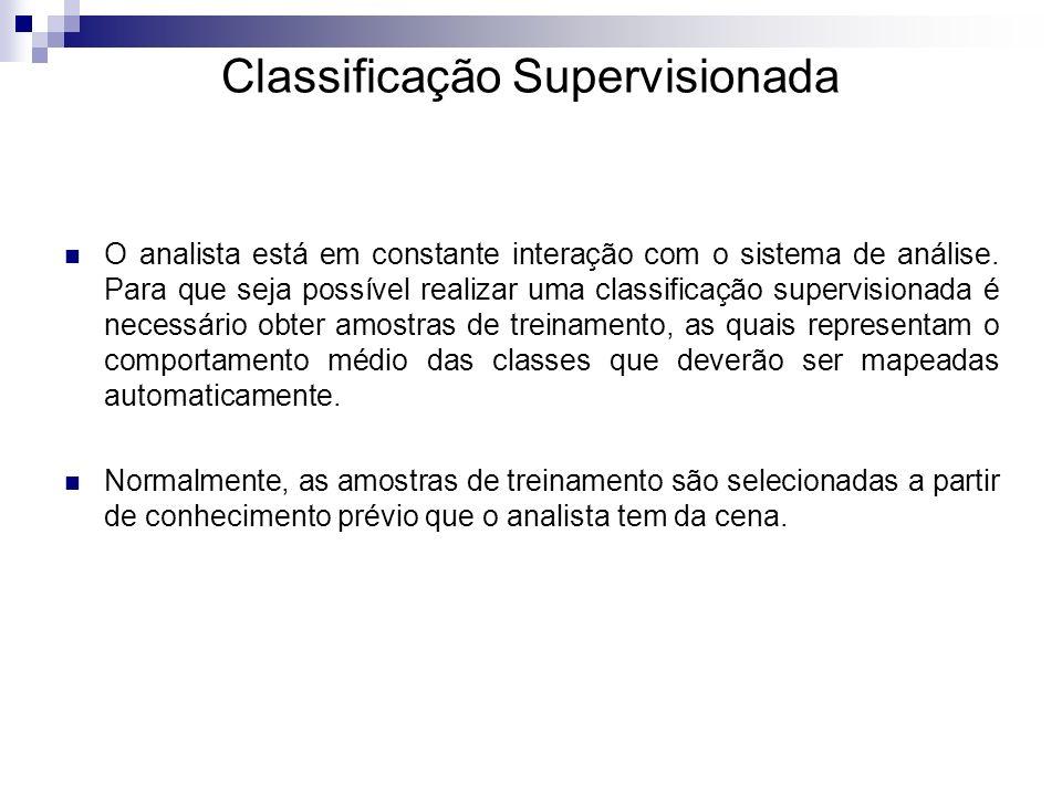 Classificação Supervisionada O analista está em constante interação com o sistema de análise. Para que seja possível realizar uma classificação superv