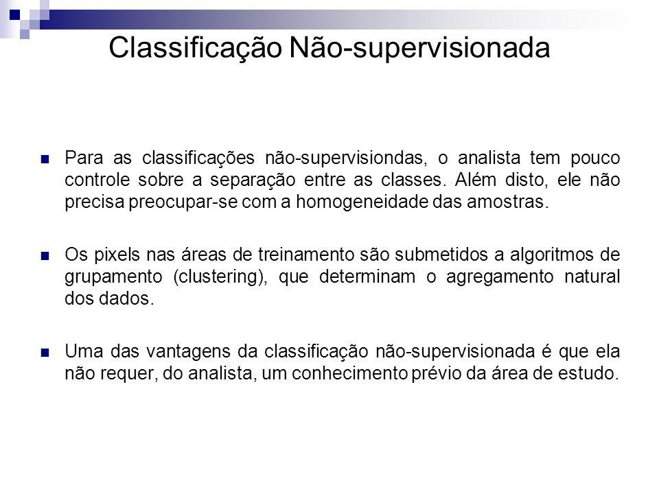 Classificação Não-supervisionada Para as classificações não-supervisiondas, o analista tem pouco controle sobre a separação entre as classes. Além dis