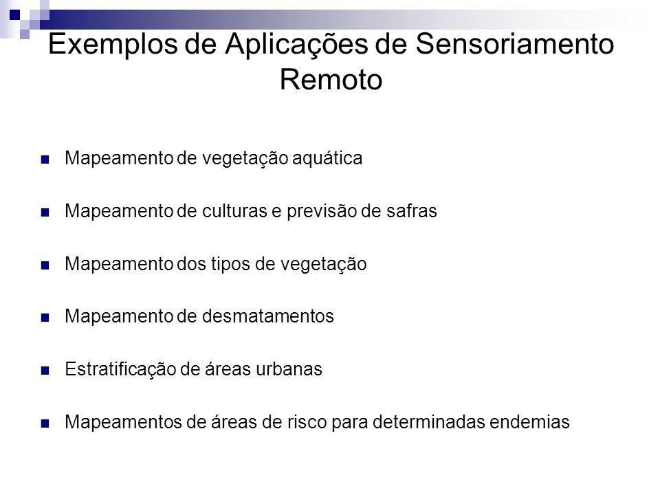 Exemplos de Aplicações de Sensoriamento Remoto Mapeamento de vegetação aquática Mapeamento de culturas e previsão de safras Mapeamento dos tipos de ve