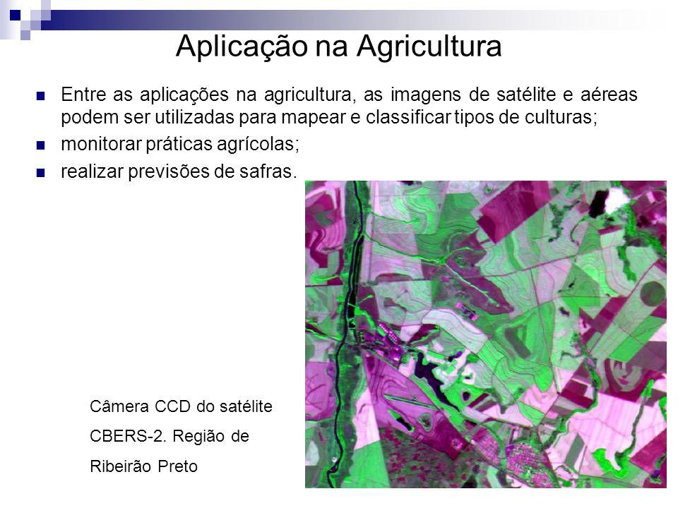 Aplicação na Agricultura Entre as aplicações na agricultura, as imagens de satélite e aéreas podem ser utilizadas para mapear e classificar tipos de c