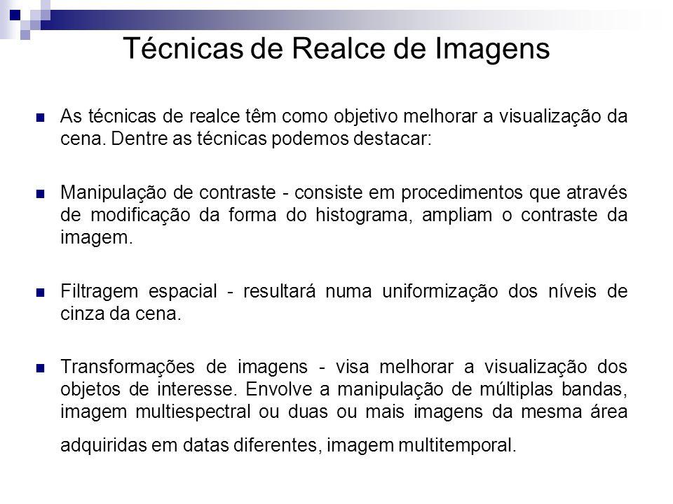 Técnicas de Realce de Imagens As técnicas de realce têm como objetivo melhorar a visualização da cena. Dentre as técnicas podemos destacar: Manipulaçã