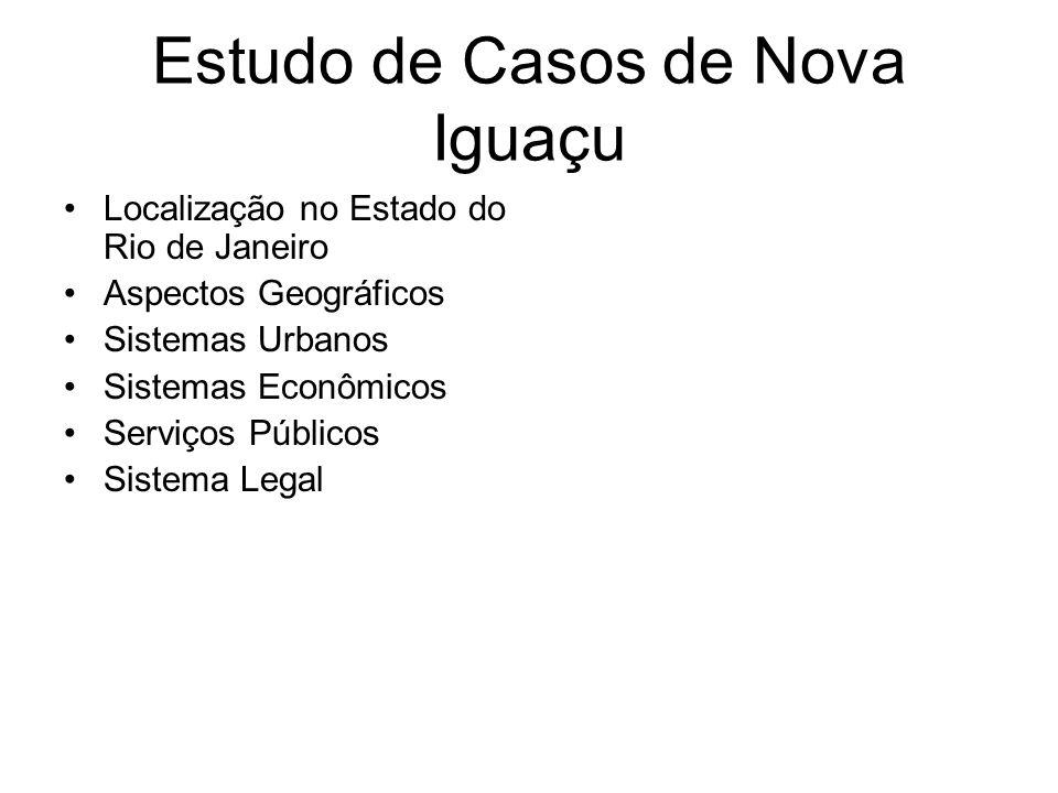 gdornele@posgrad.nce.ufrj.br Estudo de Casos de Nova Iguaçu Localização no Estado do Rio de Janeiro Aspectos Geográficos Sistemas Urbanos Sistemas Eco