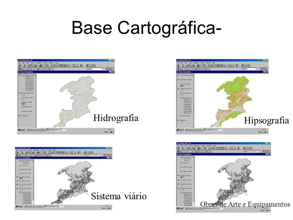 gdornele@posgrad.nce.ufrj.br Base Cartográfica- Hidrografia Hipsografia Obras de Arte e Equipamentos Sistema viário