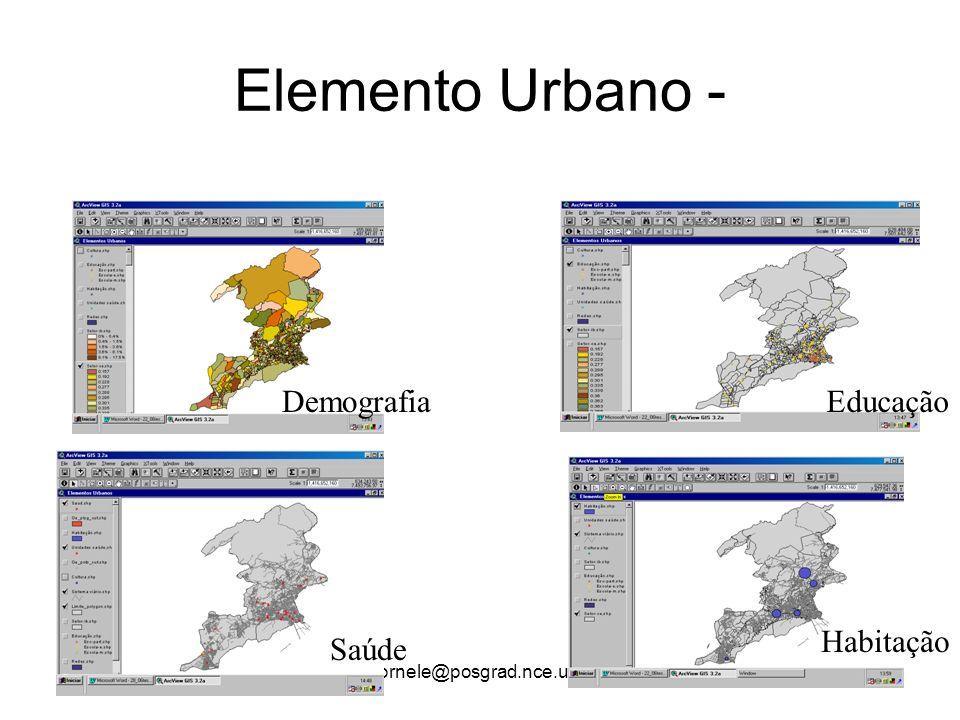 gdornele@posgrad.nce.ufrj.br Elemento Urbano - DemografiaEducação Saúde Habitação