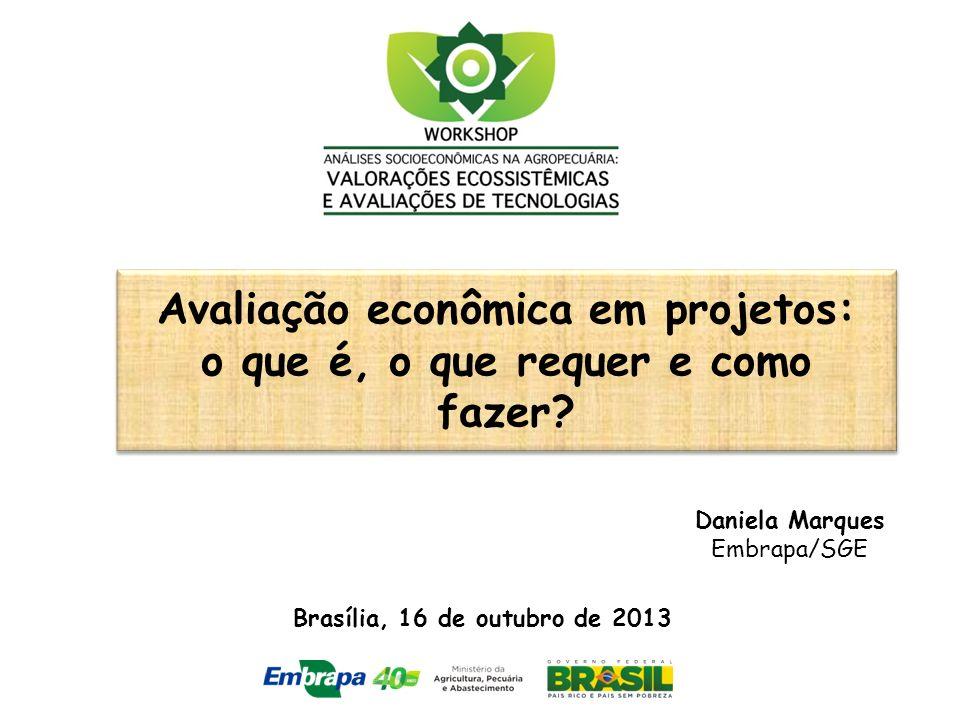 Avaliação econômica em projetos: o que é, o que requer e como fazer? Daniela Marques Embrapa/SGE Brasília, 16 de outubro de 2013
