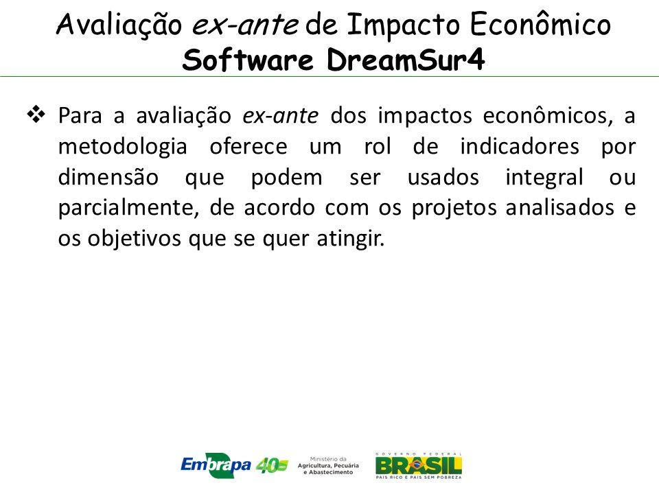 Avaliação ex-ante de Impacto Econômico Software DreamSur4 Para a avaliação ex-ante dos impactos econômicos, a metodologia oferece um rol de indicadore