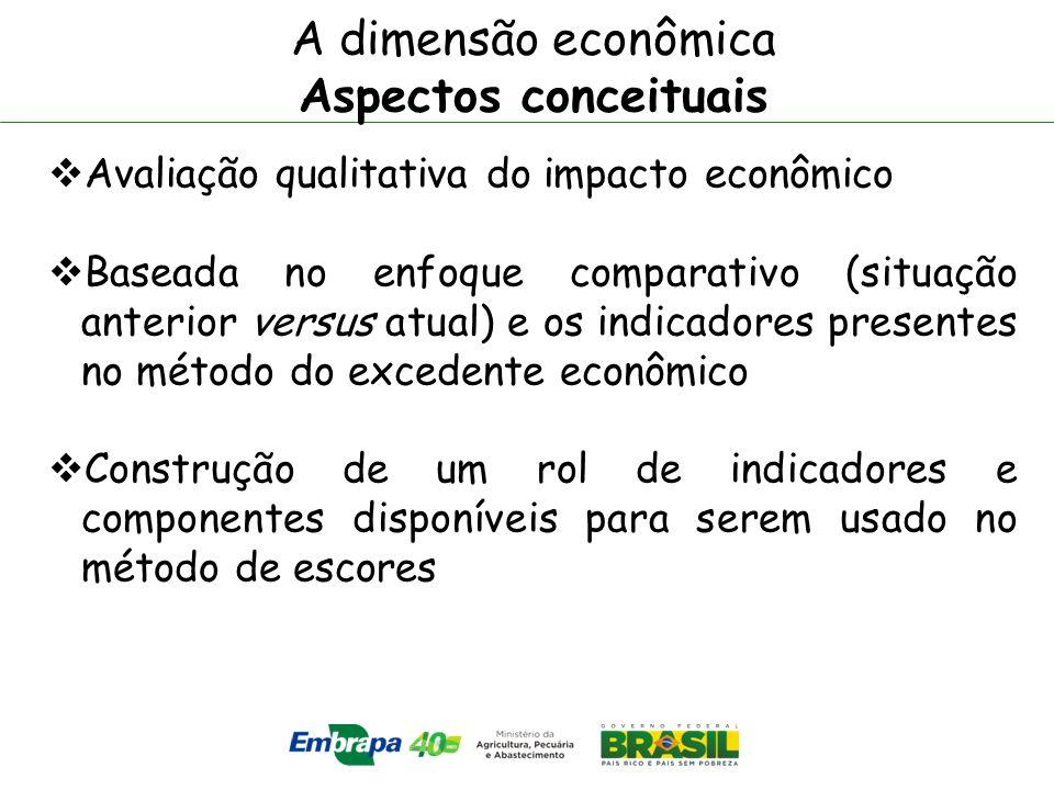A dimensão econômica Aspectos conceituais Avaliação qualitativa do impacto econômico Baseada no enfoque comparativo (situação anterior versus atual) e