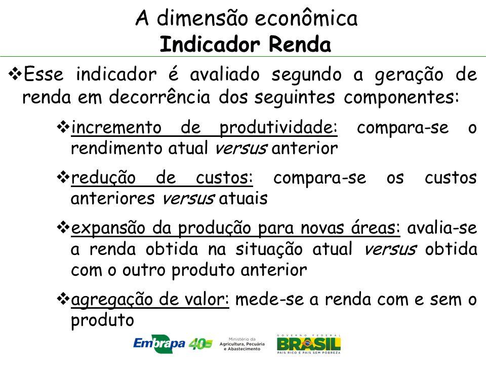A dimensão econômica Indicador Renda Esse indicador é avaliado segundo a geração de renda em decorrência dos seguintes componentes: incremento de prod