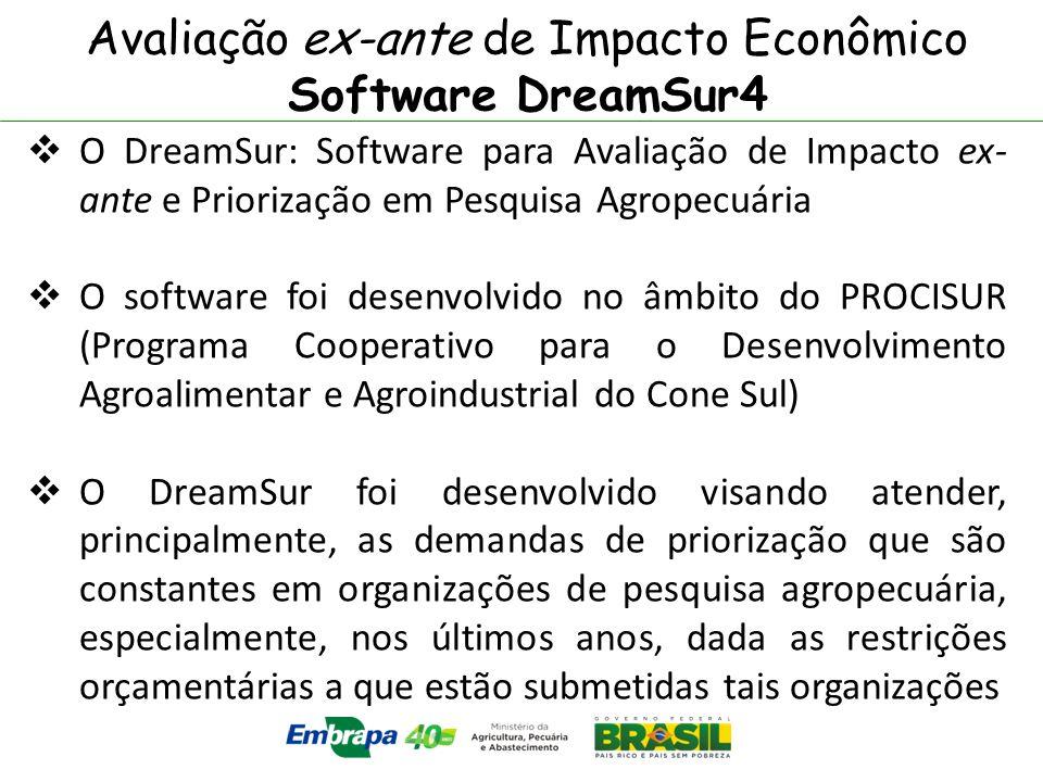 Avaliação ex-ante de Impacto Econômico Software DreamSur4 O DreamSur: Software para Avaliação de Impacto ex- ante e Priorização em Pesquisa Agropecuár
