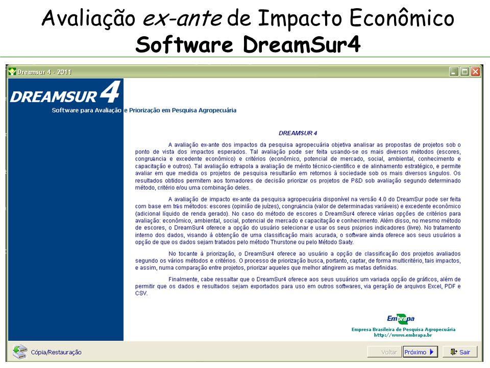 Avaliação ex-ante de Impacto Econômico Software DreamSur4 Para a avaliação ex-ante dos impactos econômicos, a metodologia oferece um rol de indicadores por dimensão que podem ser usados integral ou parcialmente, de acordo com os projetos analisados e os objetivos que se quer atingir.
