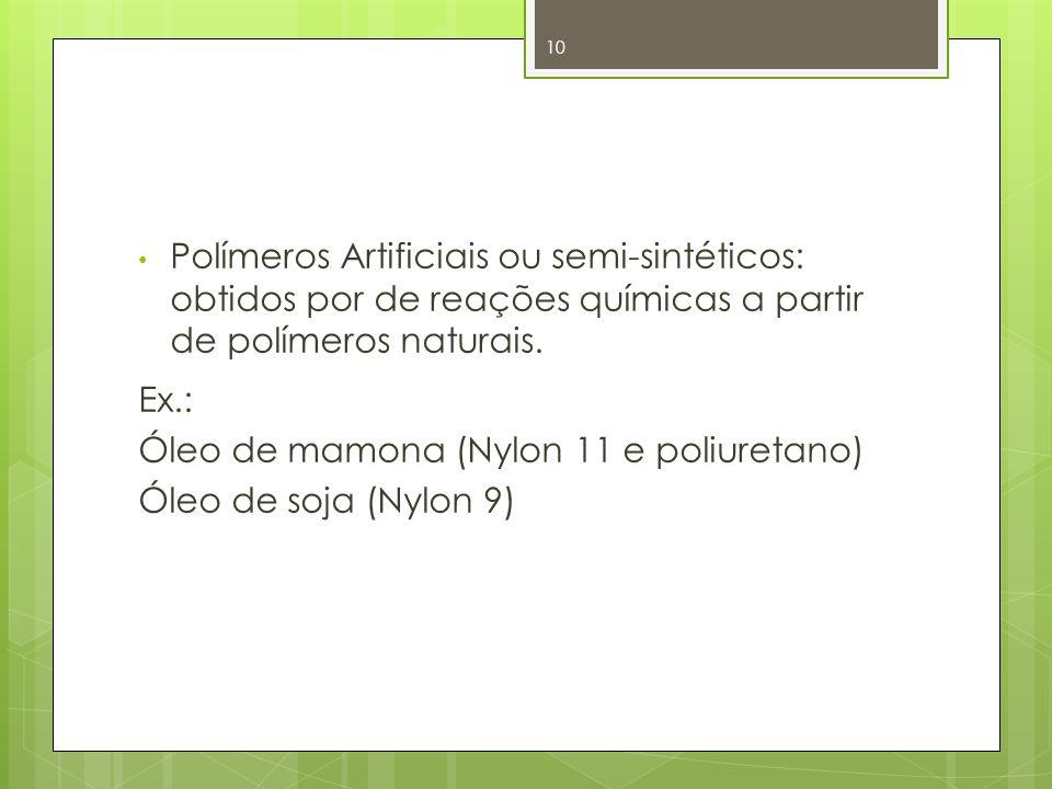 Polímeros Artificiais ou semi-sintéticos: obtidos por de reações químicas a partir de polímeros naturais. Ex.: Óleo de mamona (Nylon 11 e poliuretano)