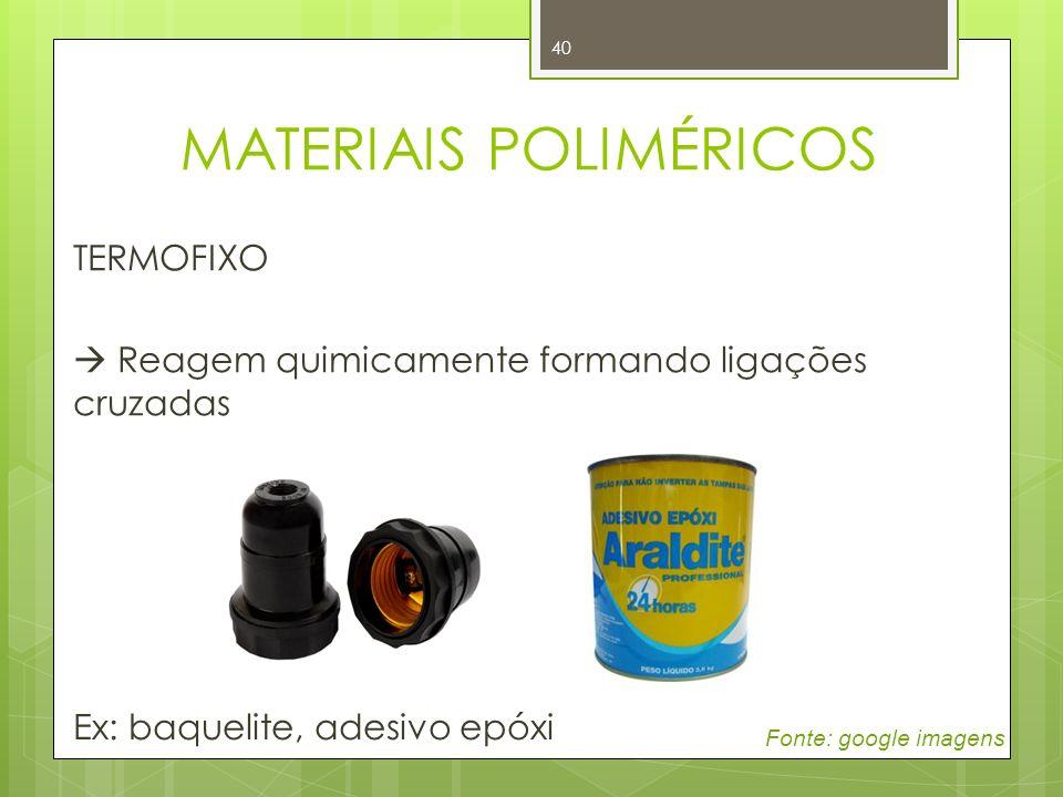 40 TERMOFIXO Reagem quimicamente formando ligações cruzadas Ex: baquelite, adesivo epóxi Fonte: google imagens MATERIAIS POLIMÉRICOS