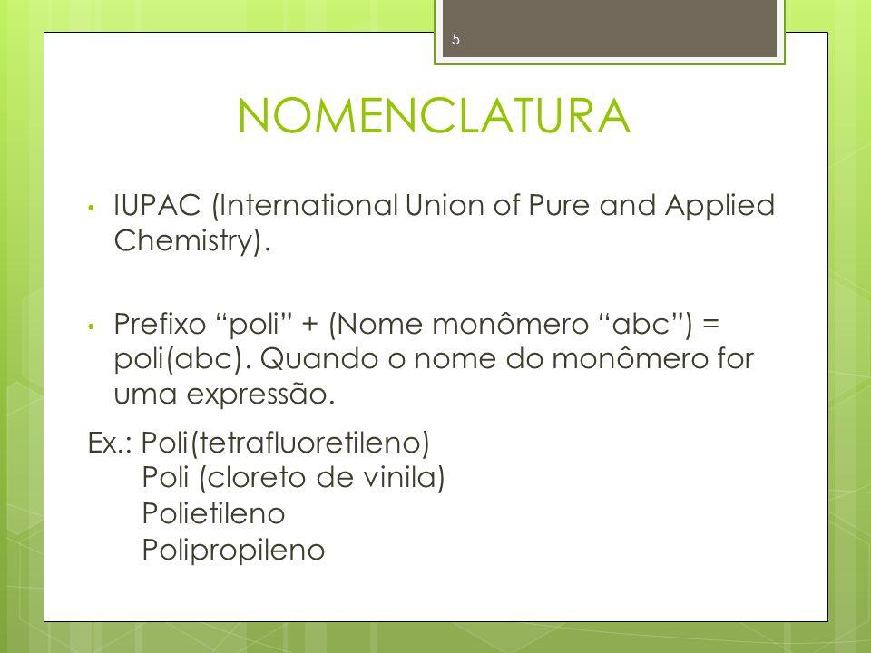 NOMENCLATURA IUPAC (International Union of Pure and Applied Chemistry). Prefixo poli + (Nome monômero abc) = poli(abc). Quando o nome do monômero for