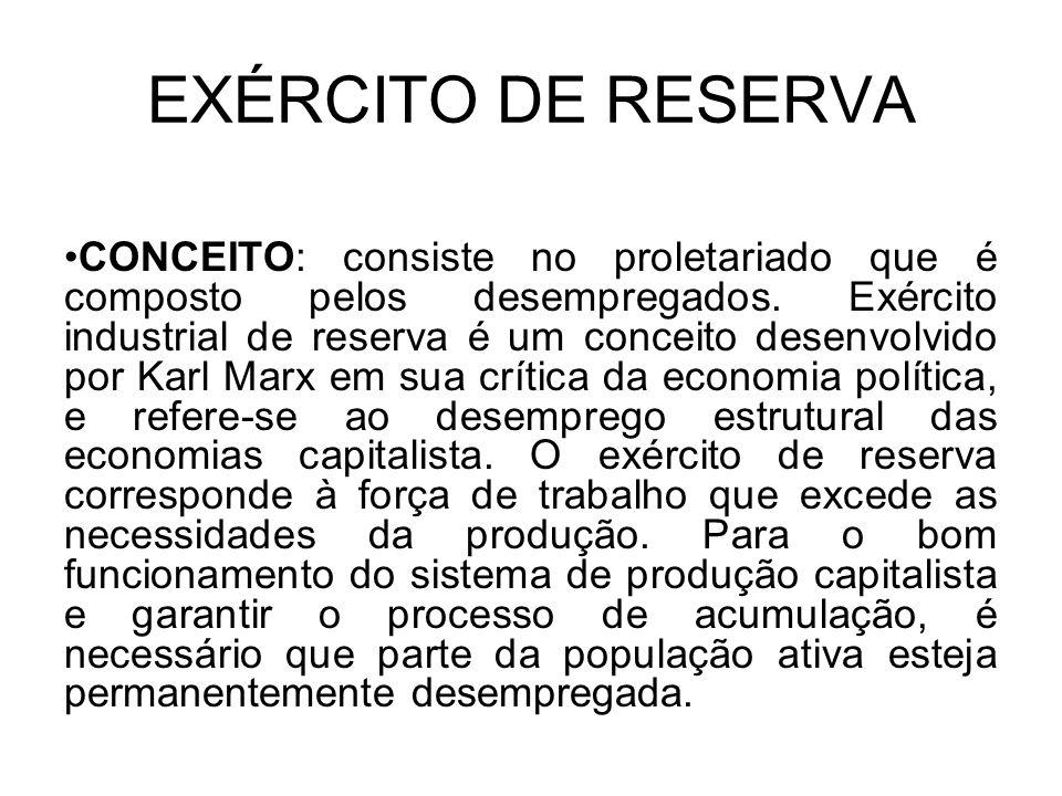 EXÉRCITO DE RESERVA CONCEITO: consiste no proletariado que é composto pelos desempregados. Exército industrial de reserva é um conceito desenvolvido p