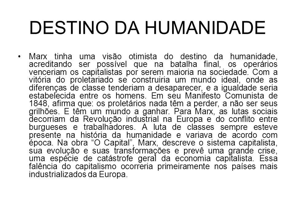 DESTINO DA HUMANIDADE Marx tinha uma visão otimista do destino da humanidade, acreditando ser possível que na batalha final, os operários venceriam os