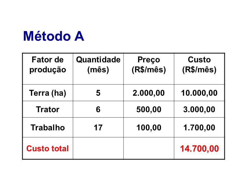 Método A Fator de produção Quantidade (mês) Preço (R$/mês) Custo (R$/mês) Terra (ha)52.000,0010.000,00 Trator6500,003.000,00 Trabalho17100,001.700,00