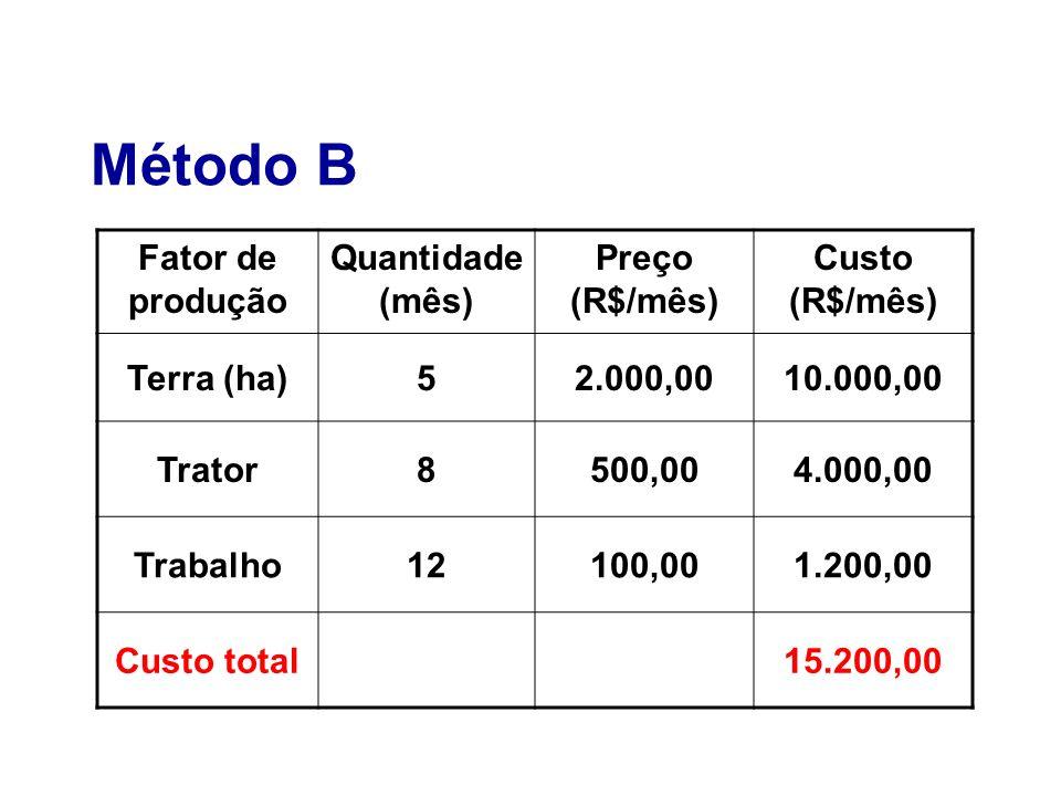 Método B Fator de produção Quantidade (mês) Preço (R$/mês) Custo (R$/mês) Terra (ha)52.000,0010.000,00 Trator8500,004.000,00 Trabalho12100,001.200,00