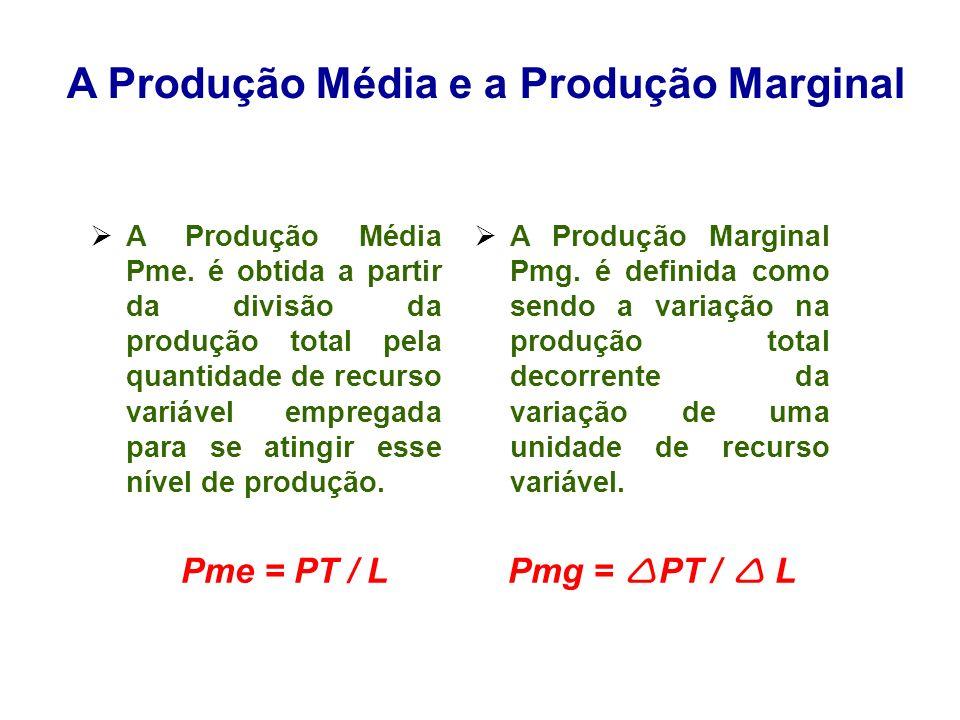 A Produção Média e a Produção Marginal A Produção Média Pme. é obtida a partir da divisão da produção total pela quantidade de recurso variável empreg
