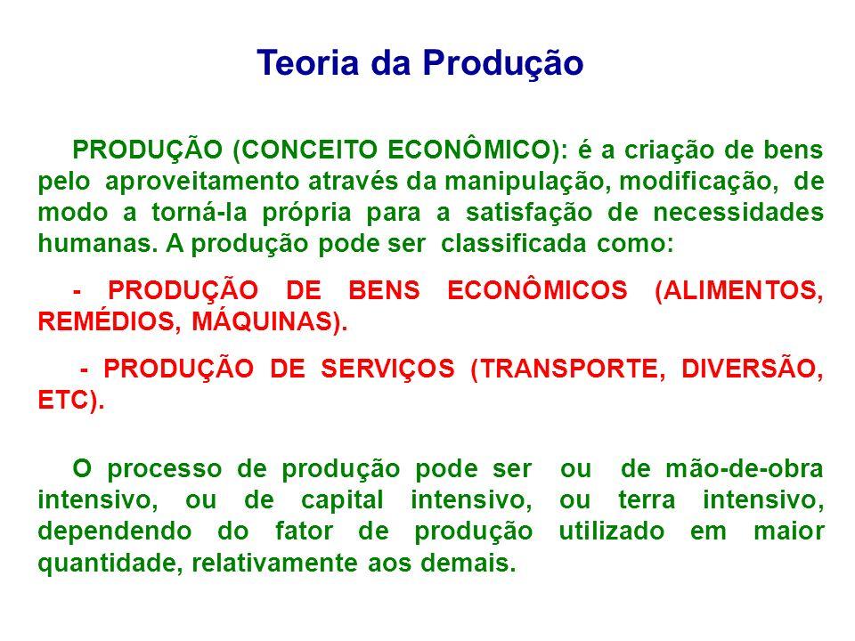 Teoria da Produção PRODUÇÃO (CONCEITO ECONÔMICO): é a criação de bens pelo aproveitamento através da manipulação, modificação, de modo a torná-la próp