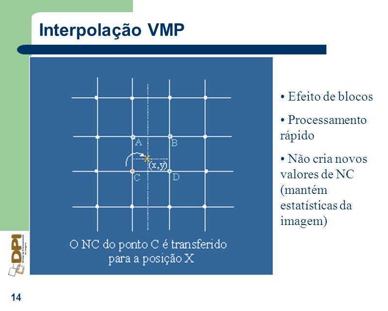 14 Interpolação VMP Efeito de blocos Processamento rápido Não cria novos valores de NC (mantém estatísticas da imagem)