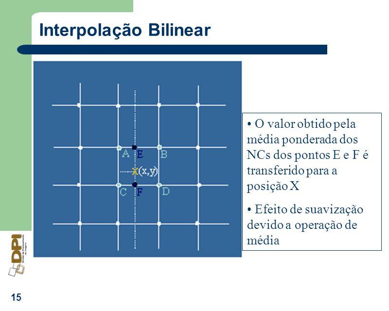 15 Interpolação Bilinear O valor obtido pela média ponderada dos NCs dos pontos E e F é transferido para a posição X Efeito de suavização devido a ope