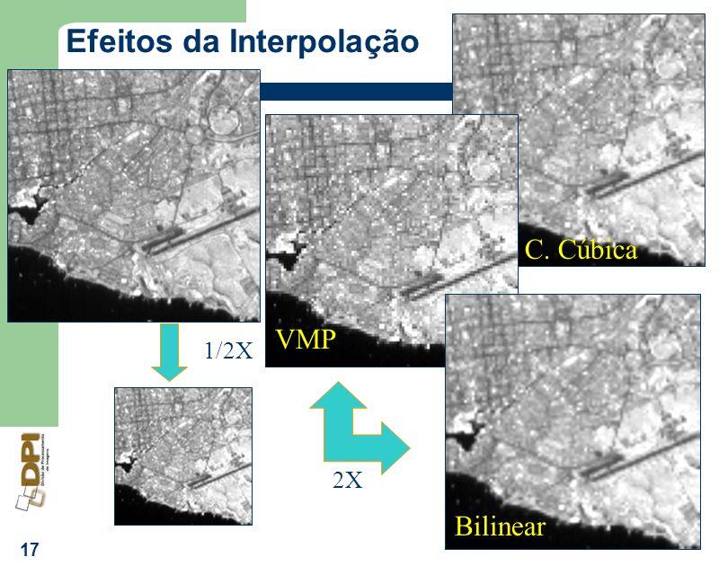 17 Efeitos da Interpolação 2X 1/2X C. Cúbica VMP Bilinear