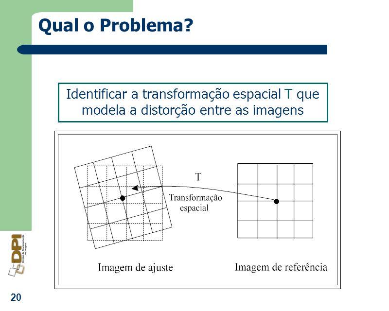 20 Qual o Problema? Identificar a transformação espacial T que modela a distorção entre as imagens