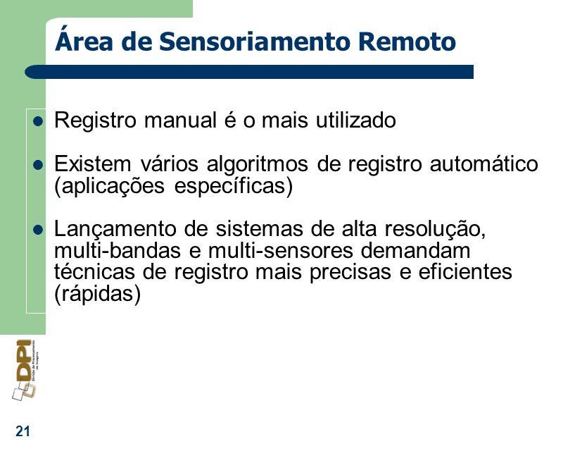 21 Área de Sensoriamento Remoto Registro manual é o mais utilizado Existem vários algoritmos de registro automático (aplicações específicas) Lançament