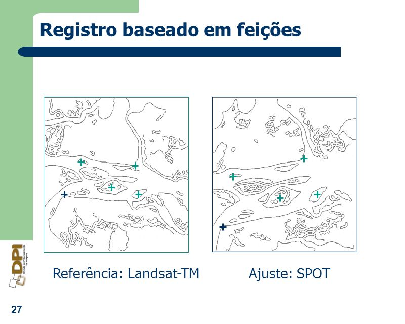 27 Registro baseado em feições Referência: Landsat-TMAjuste: SPOT