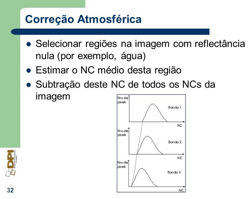 32 Correção Atmosférica Selecionar regiões na imagem com reflectância nula (por exemplo, água) Estimar o NC médio desta região Subtração deste NC de t